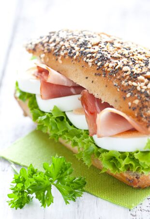 bacon and eggs: fresh sandwich with ham and egg Stock Photo
