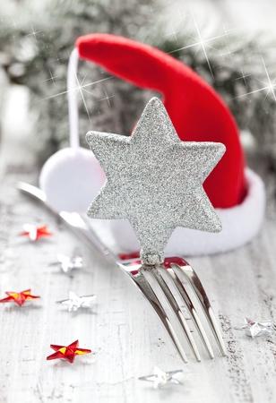 comida de navidad: configuraci�n de la tabla para Navidad con decoraci�n