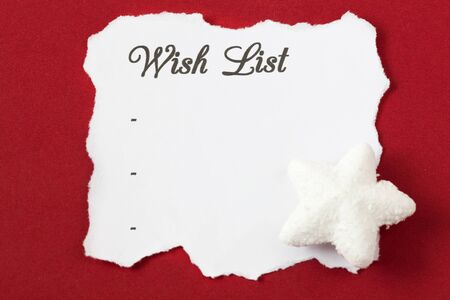 wish list on white paper with copy space  photo