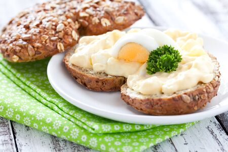 wholemeal: sandwich with egg salad and parsley  Stock Photo