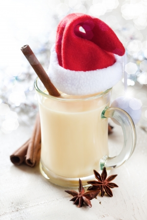 delicious eggnog in a glass with cinnamon
