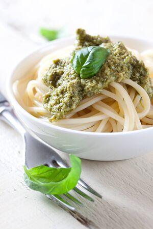 fresh pasta with green pesto  photo
