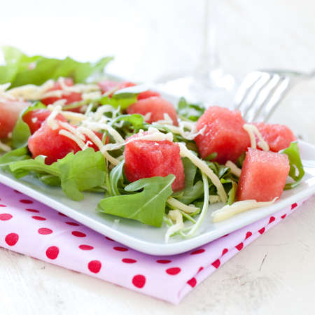 fruity salad: fresh watermelon salad with arugula and cheese Stock Photo
