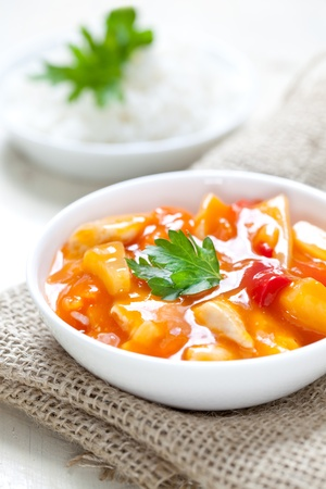 sweet sour chicken with fresh rice  photo