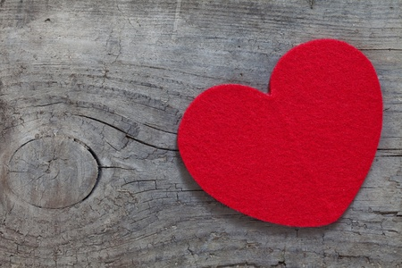 red heart on wood with copy space Stock Photo