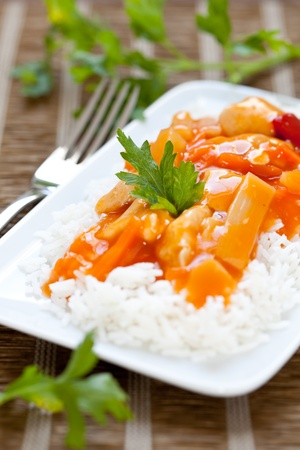 sweet foods: fresh meal sweet sour chicken with rice  Stock Photo