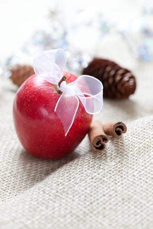 red apple with ribbon and cinnamon and copy space  photo