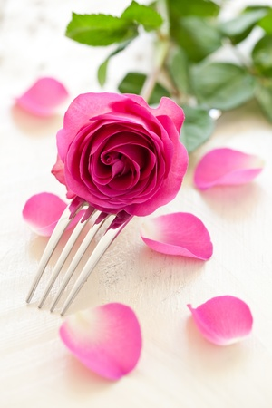 fork and rose for table setting photo