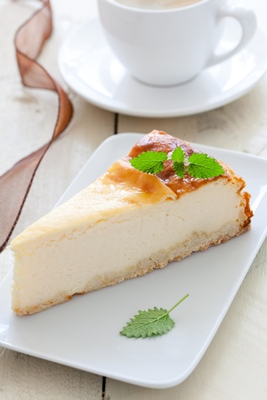 quark: cheesecake with mint on plate  Stock Photo