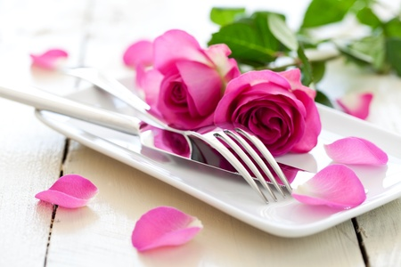 holiday dinner: romantic table setting for valentines day