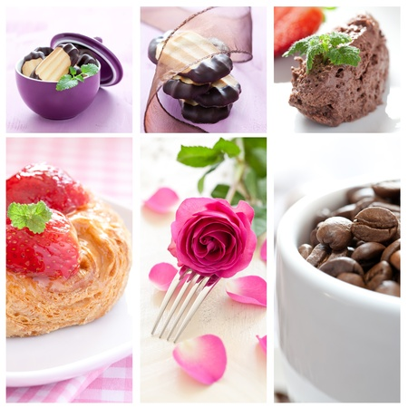 baked goods: collage of coffee, cake and mousse au chocolate