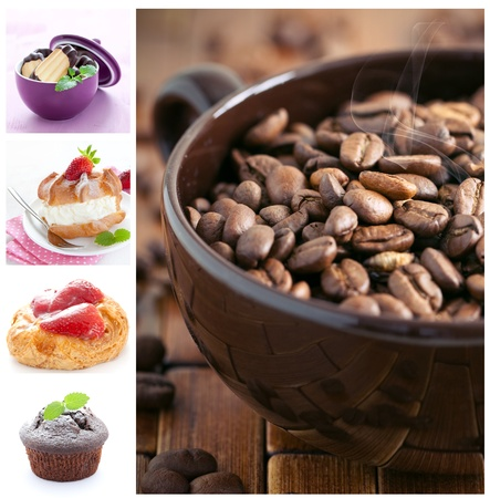 collage with dessert and a cup of coffee beans  photo