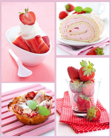 collage with strawberries, cake, and ice cream
