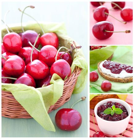 collage with cherries, jam and bread  photo