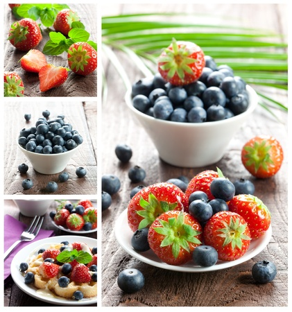 bilberries: collage of strawberries and bilberries  Stock Photo