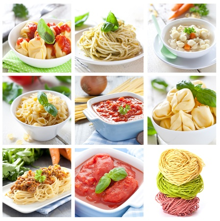 collage met pasta en sauzen Stockfoto