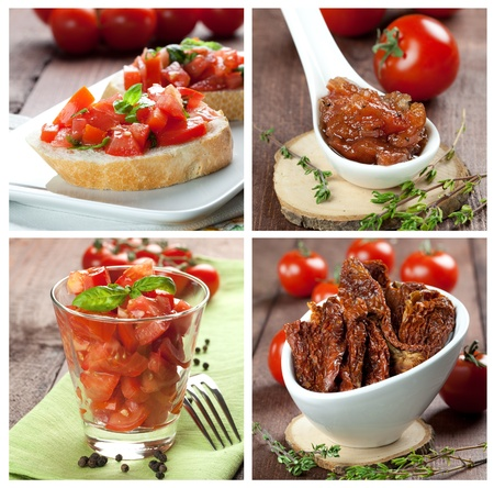 collage with tomato salad, chutney and bruschetta photo