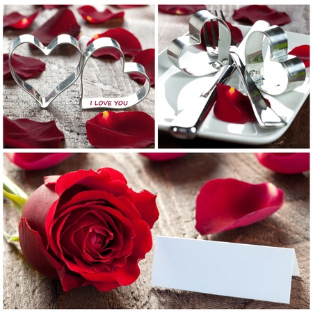 hearts and roses: collage with roses, hearts and table setting  Stock Photo