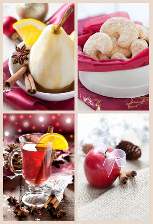 collage with mulled wine, cookies, apple and dessert Stock Photo - 12056271