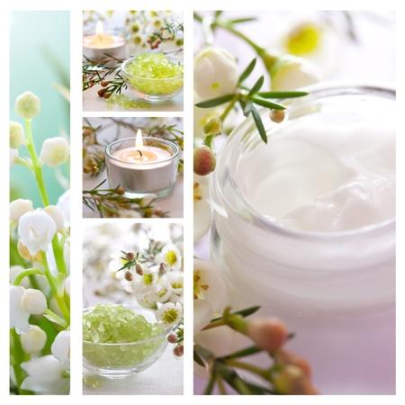 collage spa: collage de bienestar con sales de ba�o y una crema hidratante