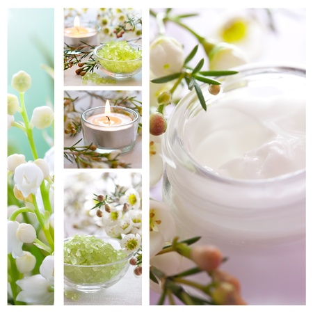wellness collage with bath salt and moisturizer