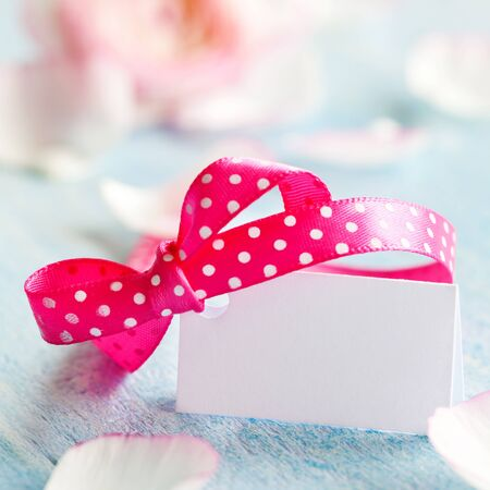 tag with ribbon and copy space  Stock Photo - 12929718