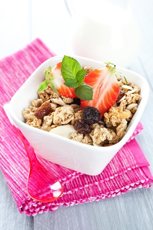 fresh muesli in a bowl with strawberries Stock Photo - 13160216