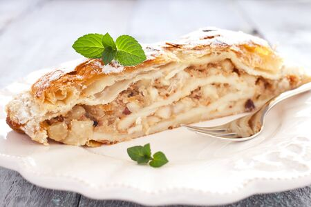 fresh Apfelstrudel with mint on a plate photo