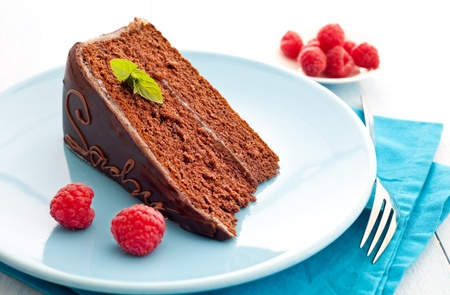 fresh sacher cake with raspberries and mint
