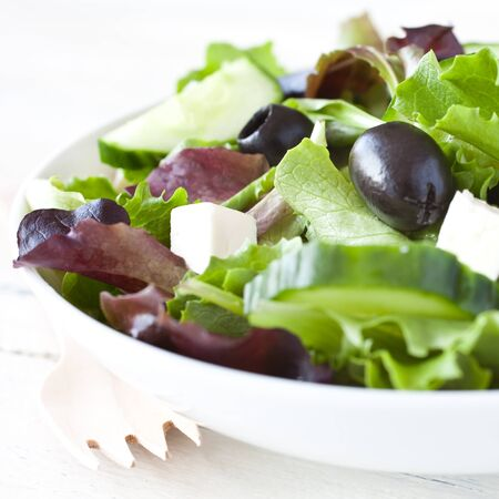 greek food: fresh salad with olives and feta cheese  Stock Photo