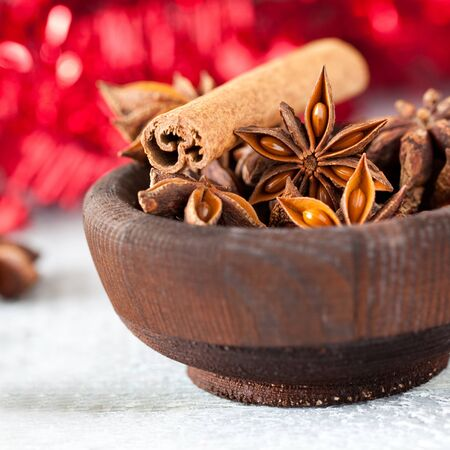 anise and cinnamon in a bowl for christmas