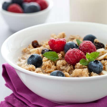 fresh muesli with fruits and milk  photo