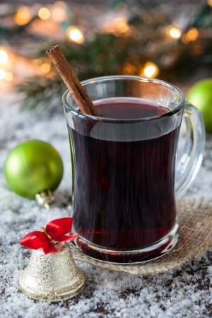 fresh mulled wine with cinnamon