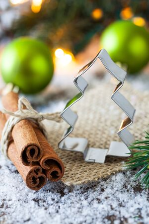 cookie cutter for christmas with cinnamon  photo