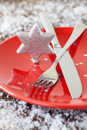 christmas table setting with star shape photo