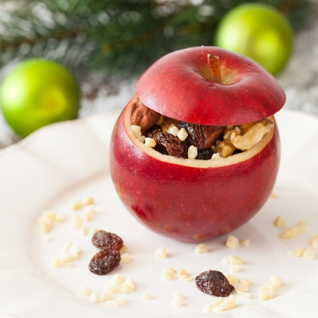 stuffed apple with raisins and nuts  Stock Photo