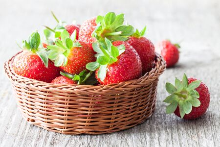 strawberry baskets: fresh strawberries in a basket