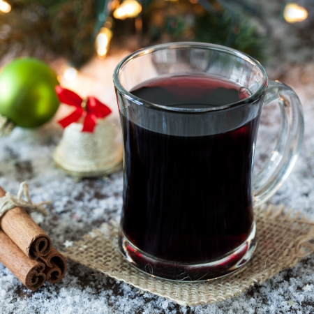 fresh mulled wine in a glass