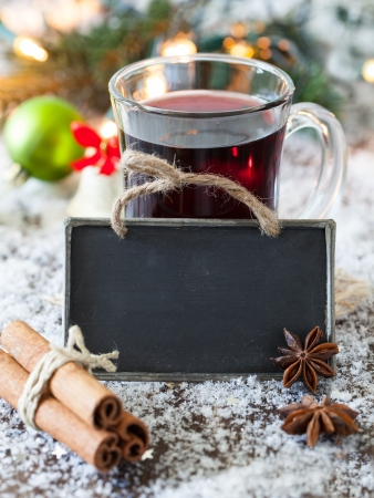 mulled wine with a tag an copy space  Standard-Bild