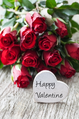 happy valentine with roses and heart