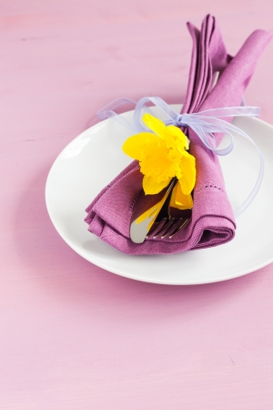 place setting for easter with cutlery  photo