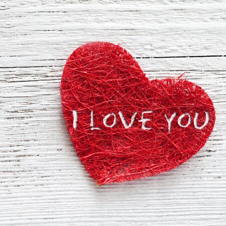 red heart on wooden background with text Stock Photo - 17852242