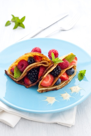 filled crepe with berries and vanilla sauce Stock Photo - 17852217