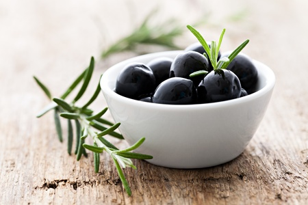 olives black with rosemary photo