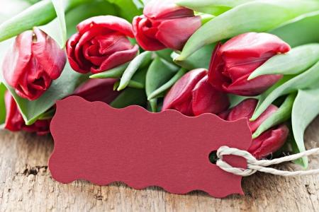 Roten Tulpen und tag mit Kopie Raum Standard-Bild - 18754106