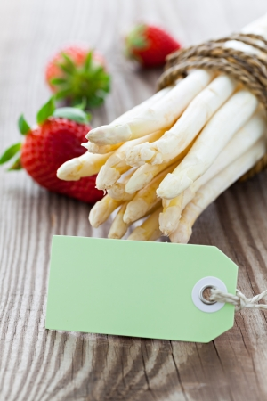 white asparagus with tag and copyspace photo