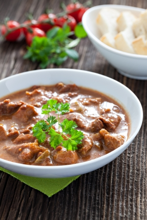 goulash: fresh goulash with bread  Stock Photo