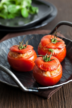 oven baked tomatoes with rice and onions