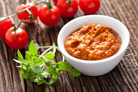 red pesto in a bowl
