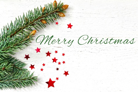glanz: merry christmas card with fir and stars